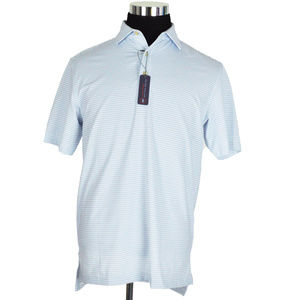 NEW Peter Millar Mens Polo Shirt S White Grey Blue